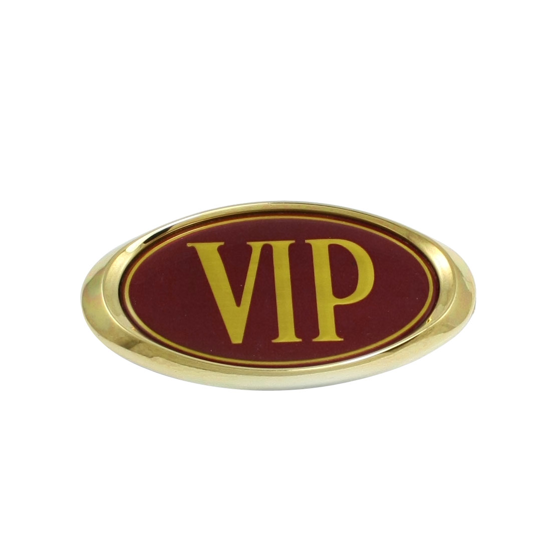 Car Decorative Oval Shape VIP Logo Badge Sticker Red Gold Tone