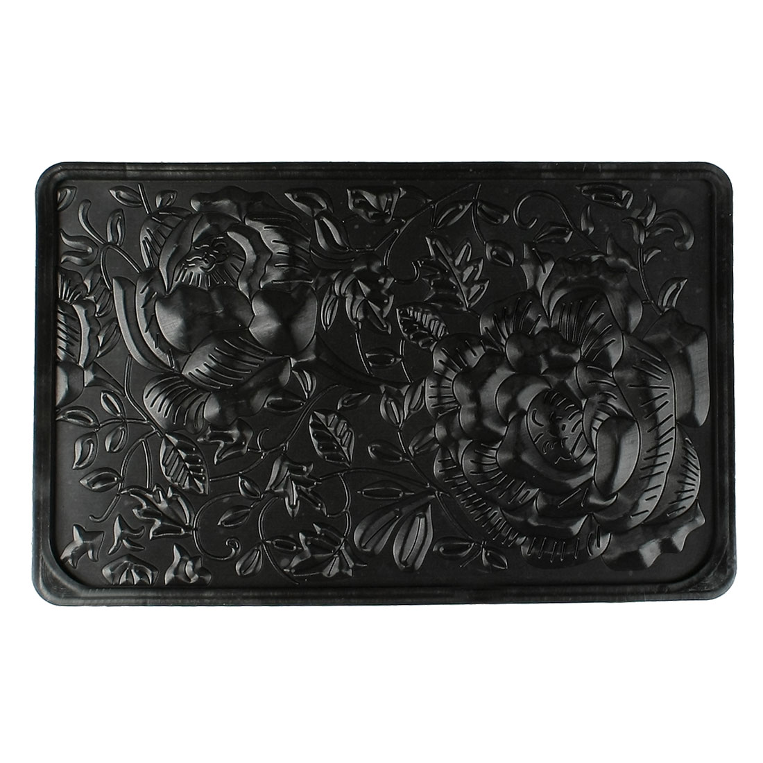 Auto Car Textured Floral Pattern Phone Holding Nonslip Rubber Pad Mat Black