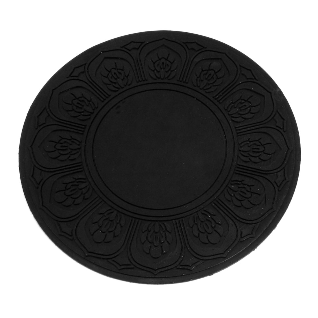 "Auto Car 5"" Round Floral Phone Holder Nonslip Rubber Pad Mat Black"