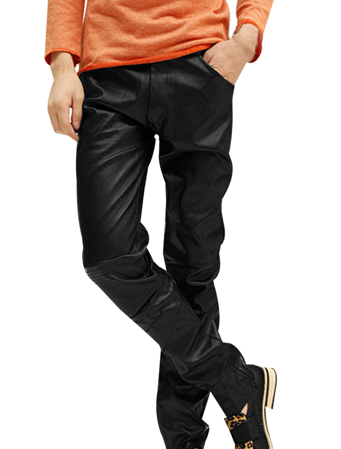 Mens Black Stylish Slant Pockets Front Zip Fly Slim Faux Leather Pants W32