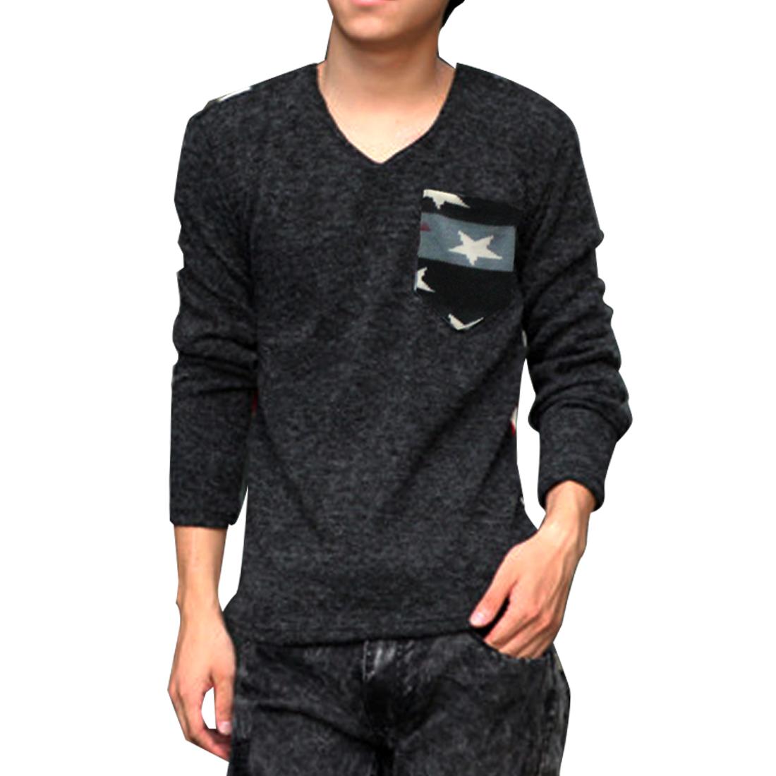 Men Dark Gray Stripes Pattern Back Stretchy Fashion Sweater M