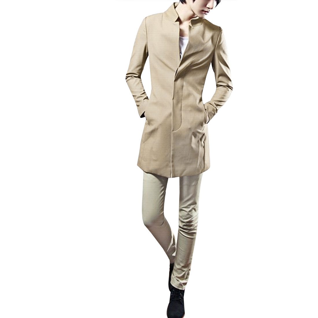 Mens Khaki Color Stand Collar Padded Shoulder Pockets Detail Autumn Blazer S