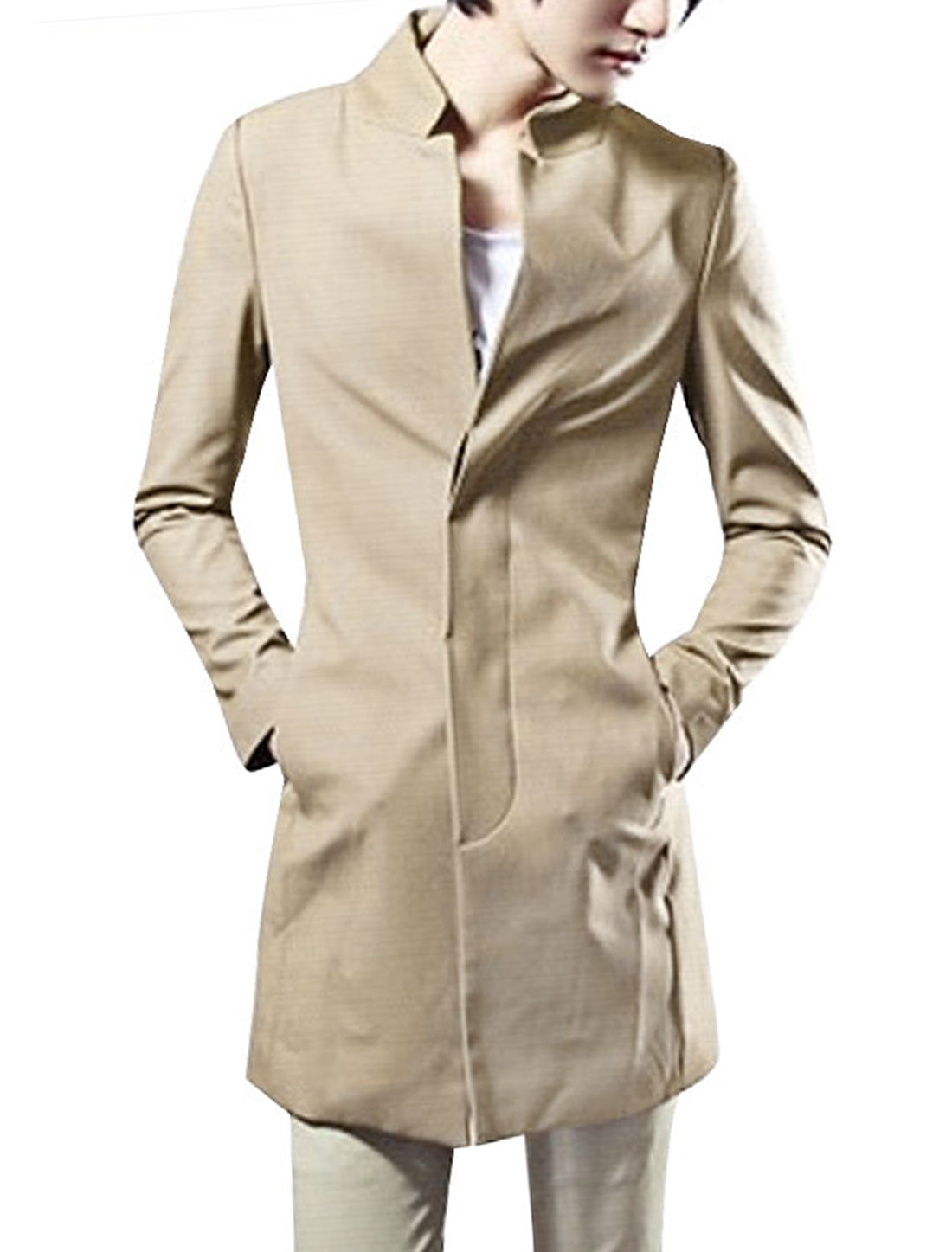 Men Khaki Color Long Sleeve Padded Shoulder Button Down Casual Trench Coat M