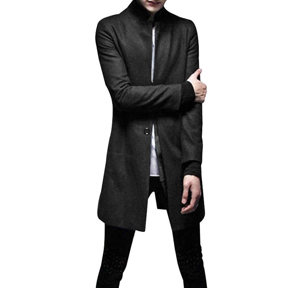 Men Black Stylish Long Sleeve Side Pockets Single Breasted Worsted Blazer S