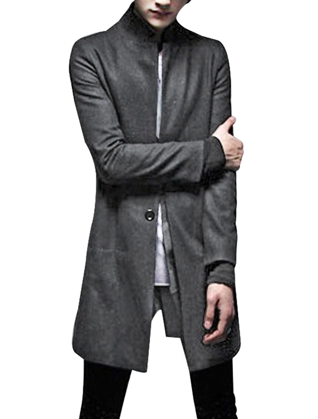 Men Dark Gray Stylish Single Breasted Side Pockets Solid Color Worsted Trench Coat S