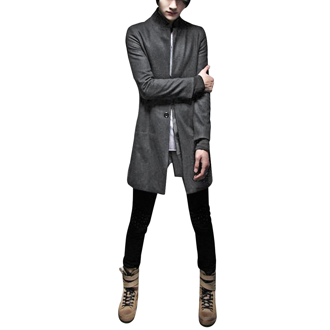 Mens Dark Gray NEW Button Closure Pockets Detail Long Sleeve Casual Trench Coat M