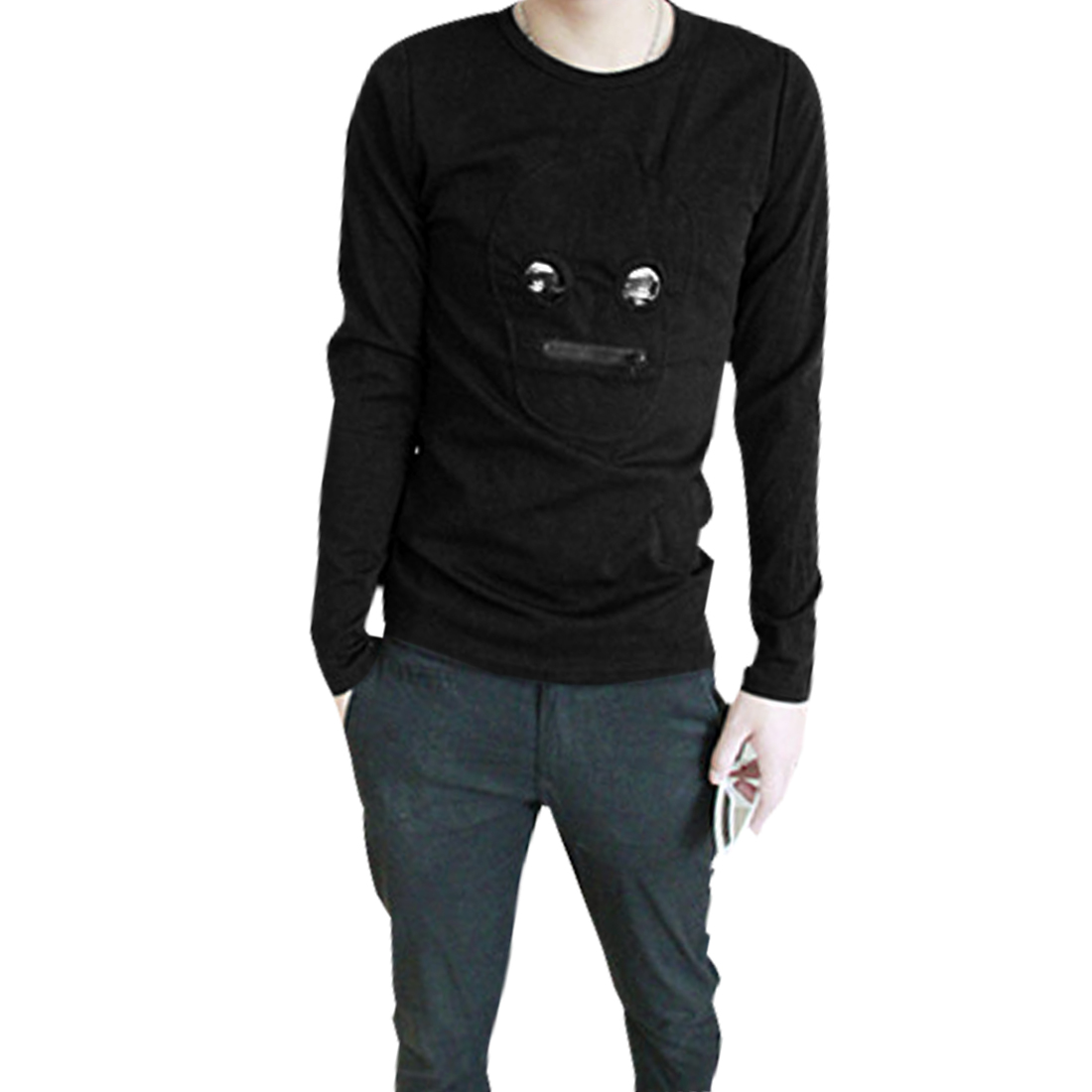 Men Black Fashion Long Sleeves Pullover Stretchy Casual Shirt S