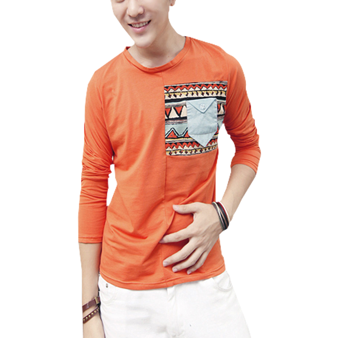 Men Orange Stretch Button Decor Front Pocket Long Sleeve Shirt M