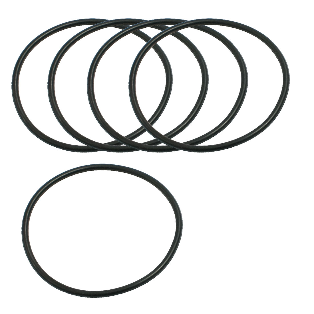 5 Pcs 53mm x 2.65mm Black Silicone O Rings Oil Seals Gaskets