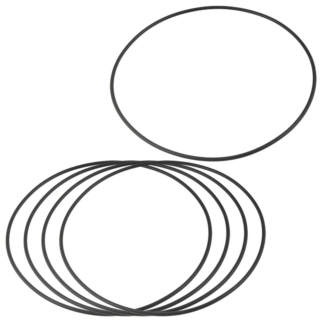 5 Pcs 165mm x 3.1mm Flexible Rubber O Rings Sealing Washer Black