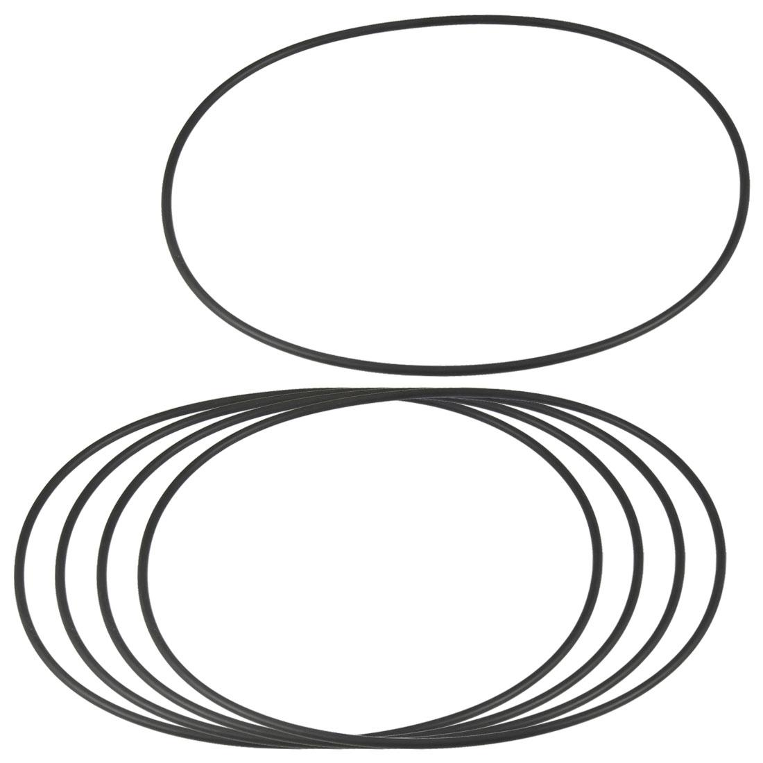 5 Pcs 160mm x 3.1mm Flexible Rubber O Rings Sealing Washer Black