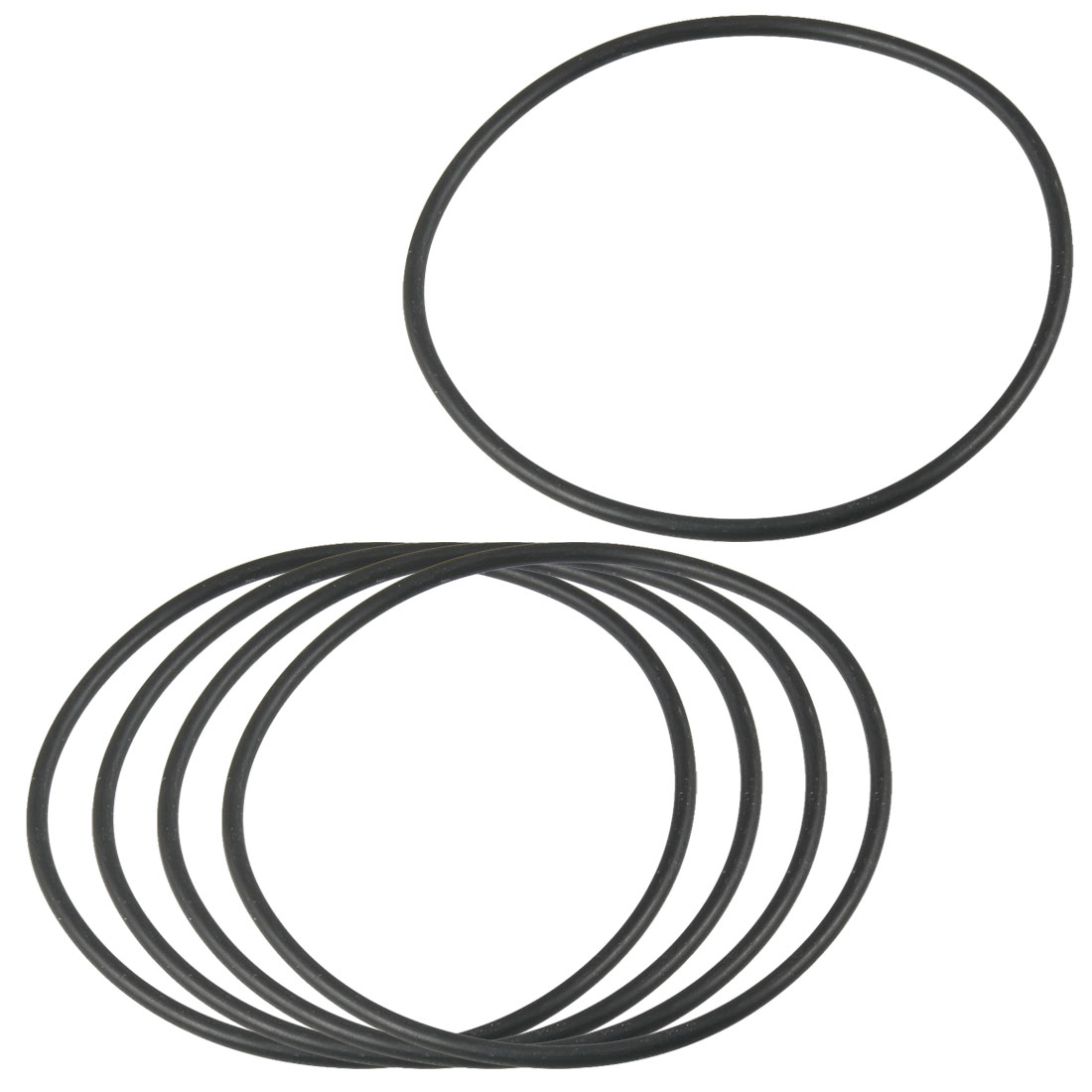 80mm x 2.4mm Flexible Rubber O Ring Sealing Washer Black 5 Pcs