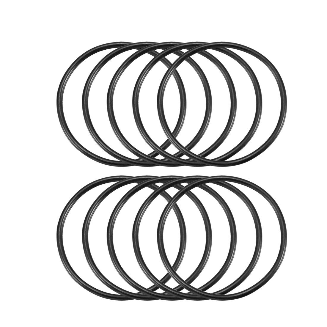 10 Pcs 46mm x 2.4mm Black Silicone O Rings Oil Seals Gaskets
