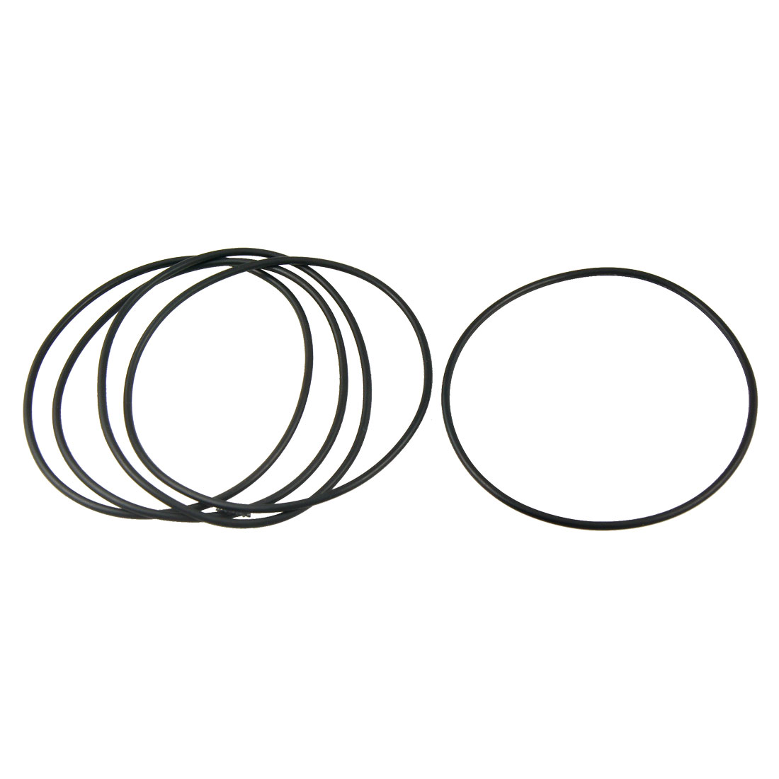 5 Pcs 95.3mm x 90mm x 2.65mm Flexible Rubber O Ring Seal Washer Black