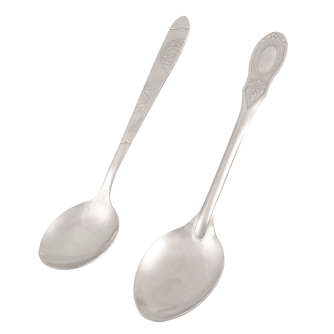 Camping Travel Silver Tone Metal Soup Spoons 2 Pcs