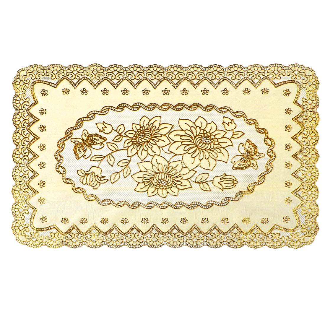 Flower Pattern Rectangular Gold Tone Table Coasters Cup Mat Heat Insulation Pad