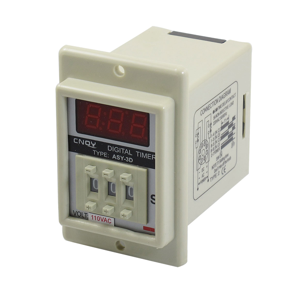 AC 110V 8 Pin 0.1-99.9 Second Digital Timer Time Delay Relay Beige ASY-3D
