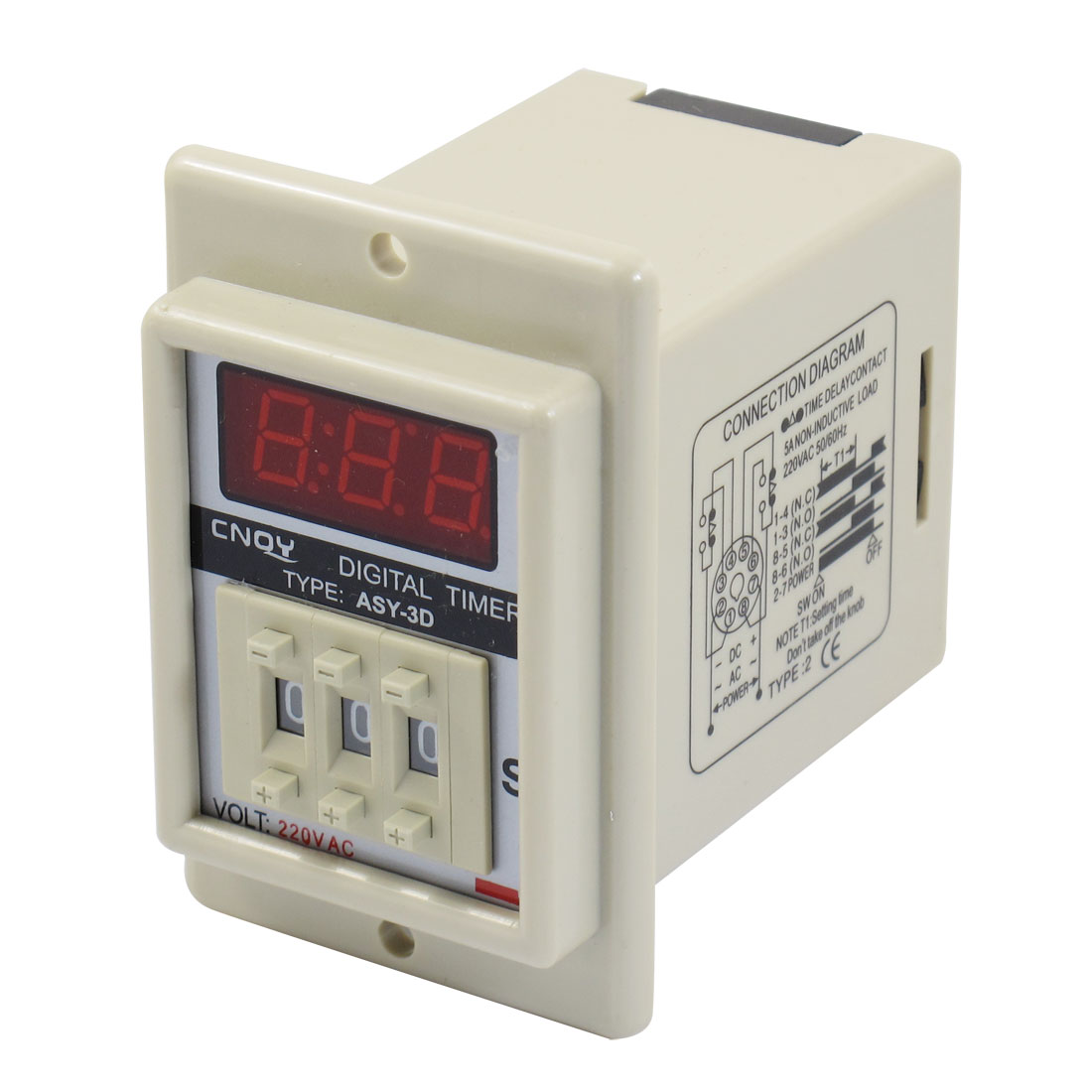 AC 220V 8 Pin 0.1-99.9 Second Digital Timer Time Delay Relay Beige ASY-3D