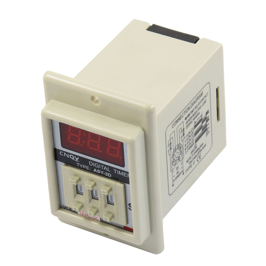 AC/DC 12V 8 Pin 1-999 Second Digital Timer Time Delay Relay Beige ASY-3D