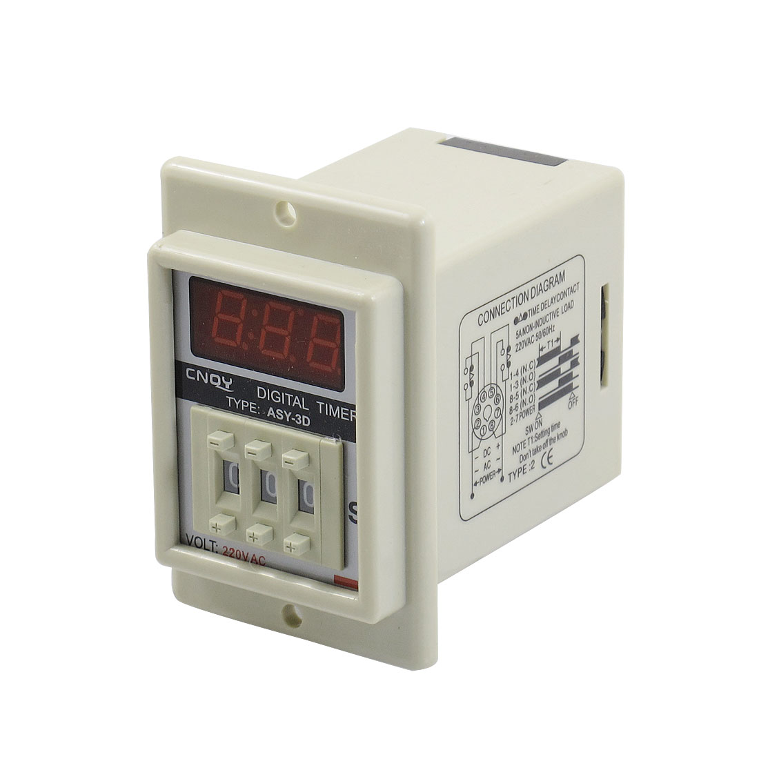 AC 220V 8 Pin 1-999 Second Digital Timer Time Delay Relay Beige ASY-3D