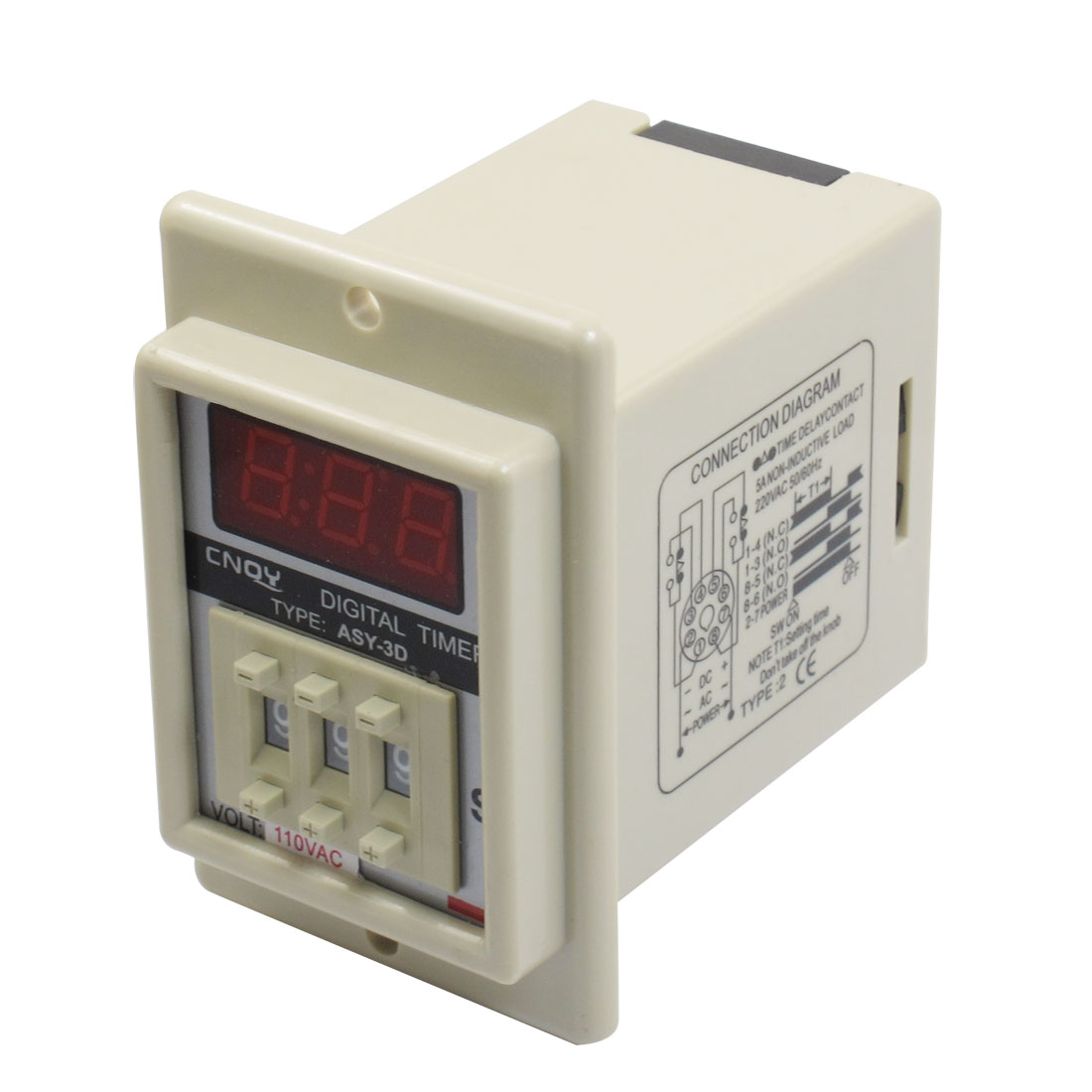 Panel Mount 1-999 Second White Digital Timer Time Delay Relay AC 110V ASY-3D