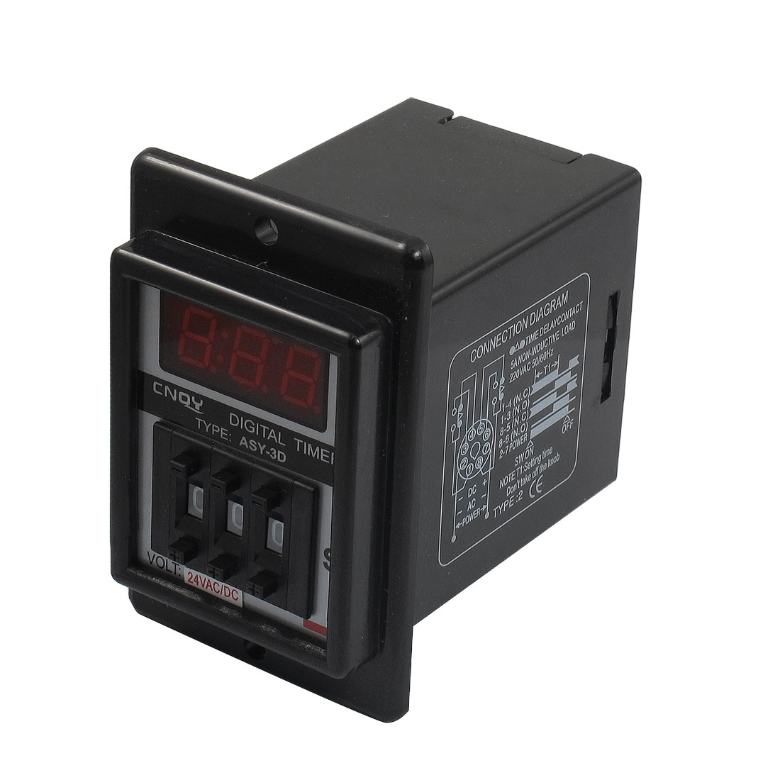 ASY-3D AC/DC 24V 9.99 Second Digital Timer Programmable Time Delay Relay Black