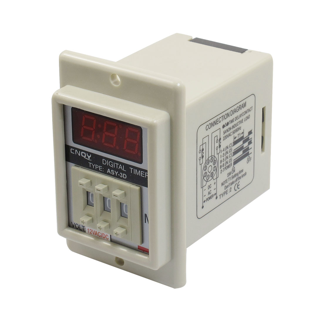 Panel Mount 1-999 Minute White Digital Timer Time Delay Relay AC/DC 12V ASY-3D