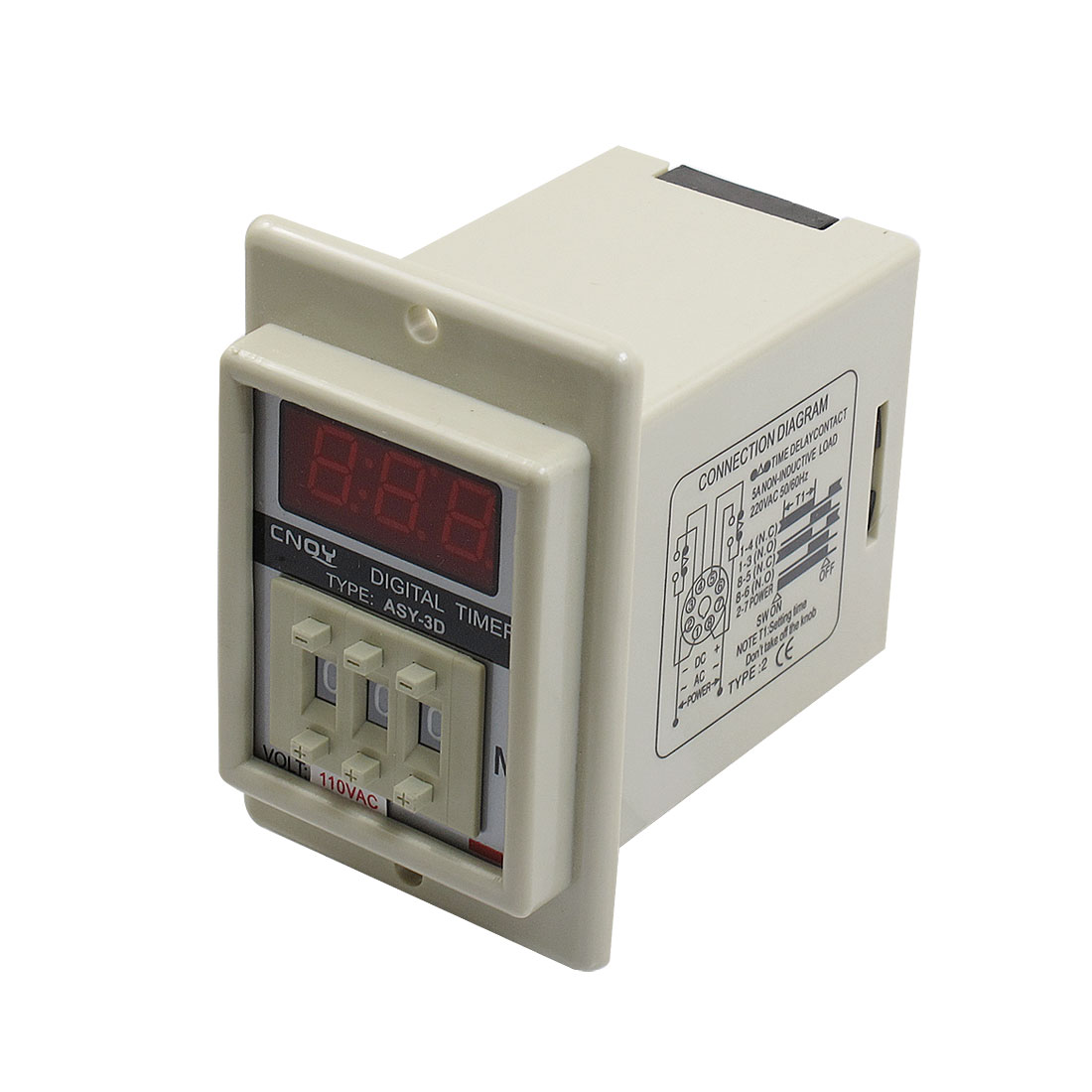White AC 110V Power on Delay Timer Time Relay 1-999 Minute 8 Pins ASY-3D