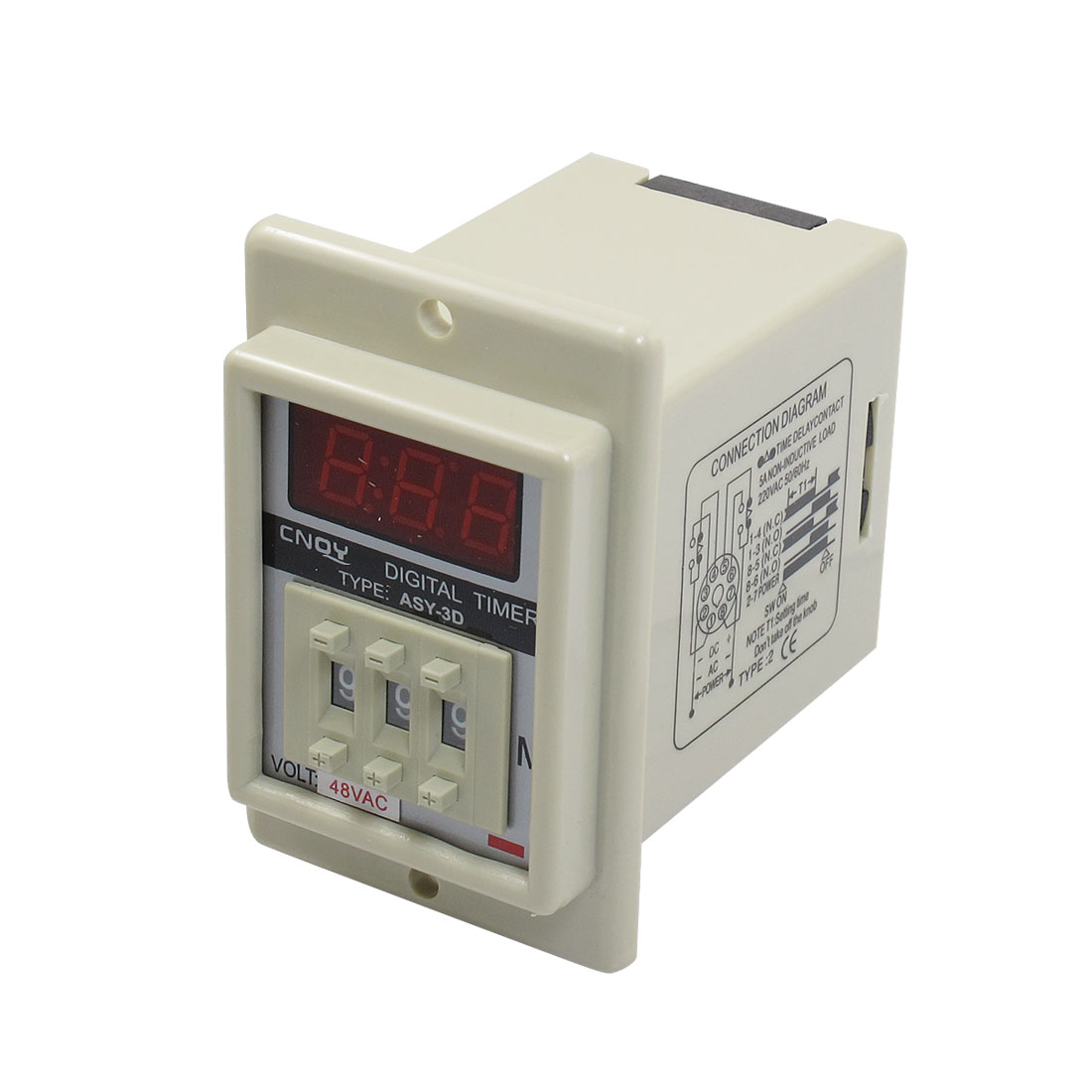 Panel Mount 1-999 Minute White Digital Timer Time Delay Relay AC 48V ASY-3D