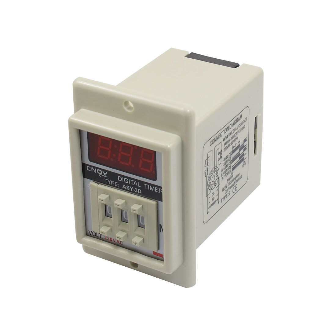 Panel Mount 0.1-99.9 Minute White Digital Timer Time Delay Relay AC 220V ASY-3D