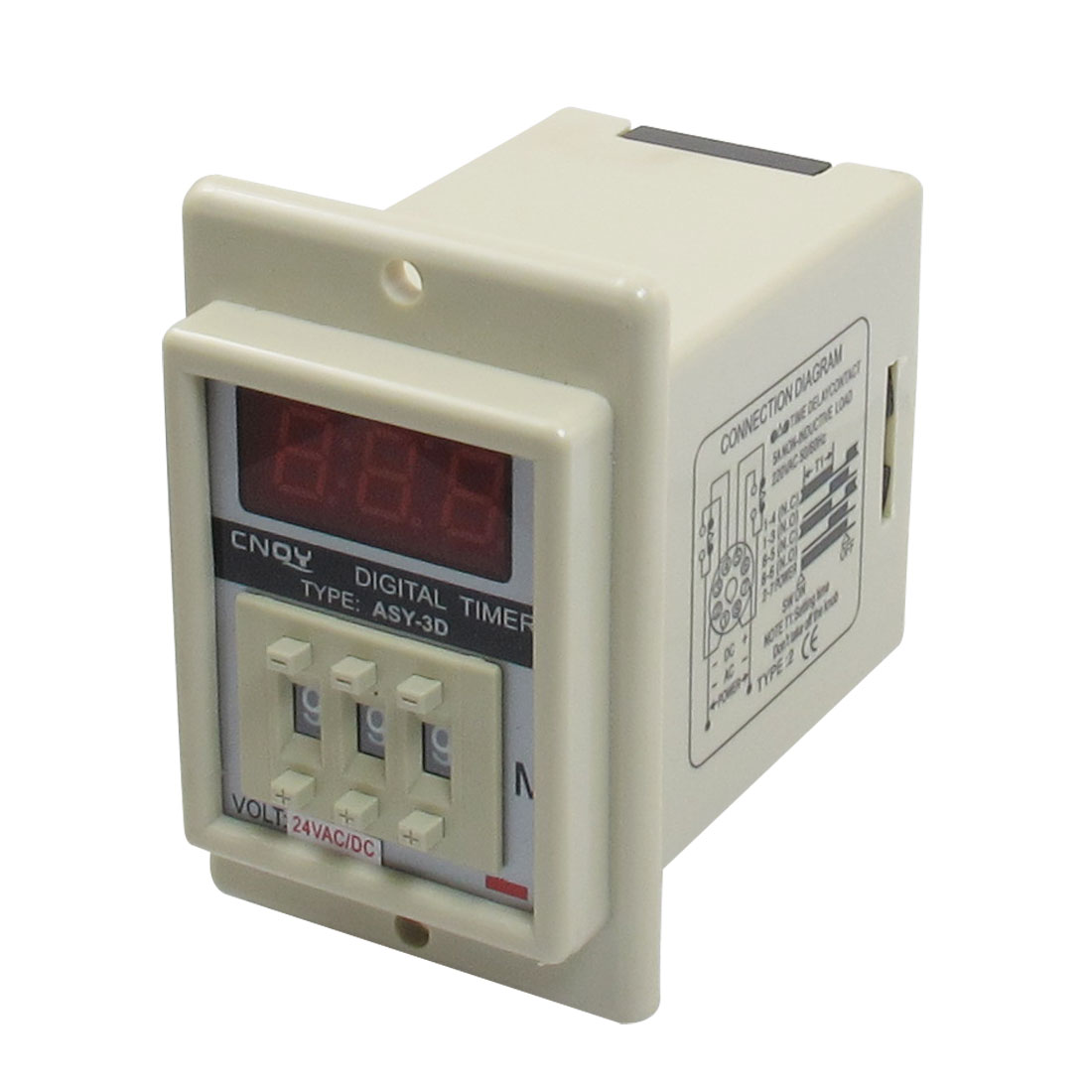 Panel Mount 1-999 Minute White Digital Timer Time Delay Relay AC/DC 24V ASY-3D