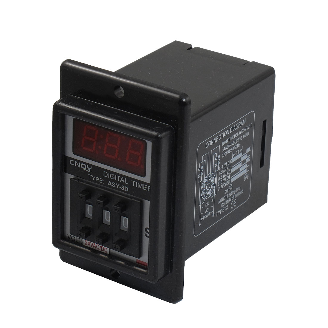 Panel Mount 0.1S-99.9S Black Digital Timer Time Delay Relay AC/DC 24V ASY-3D