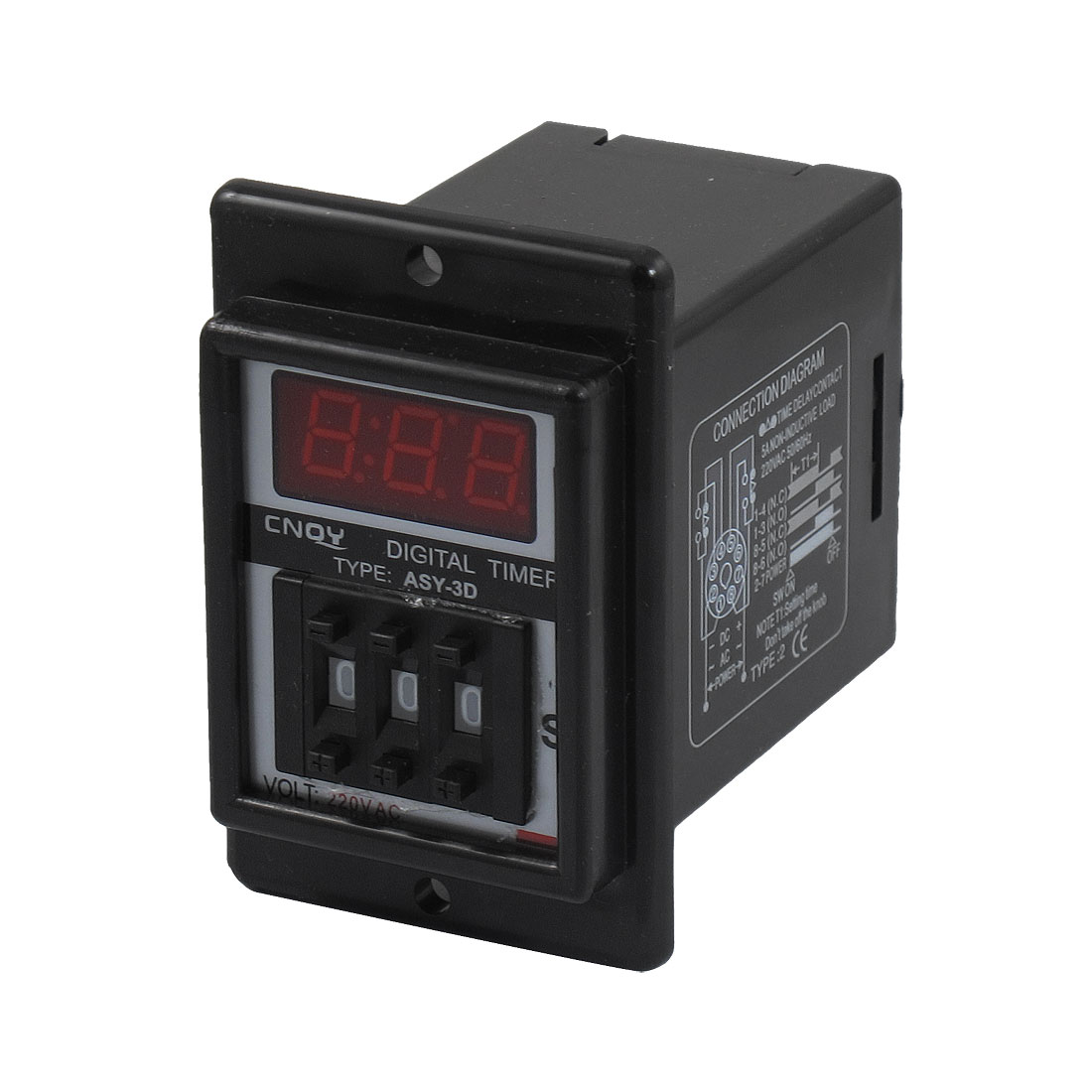 AC 220V 0.1-99.9 Second Digital Timer Time Delay Relay Black 8 Pin ASY-3D