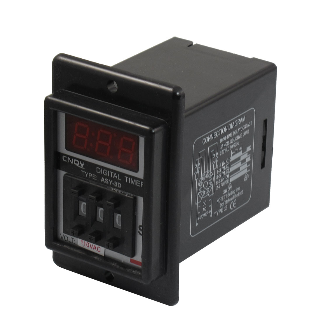 Black AC 110V Power on Delay Timer Time Relay 0.1-99.9 Second 8 Pins ASY-3D