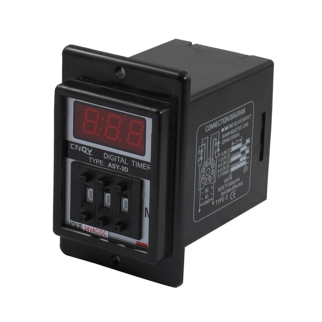 AC/DC 24V 0.1-99.9 Minute Digital Timer Time Delay Relay Black 8 Pin ASY-3D
