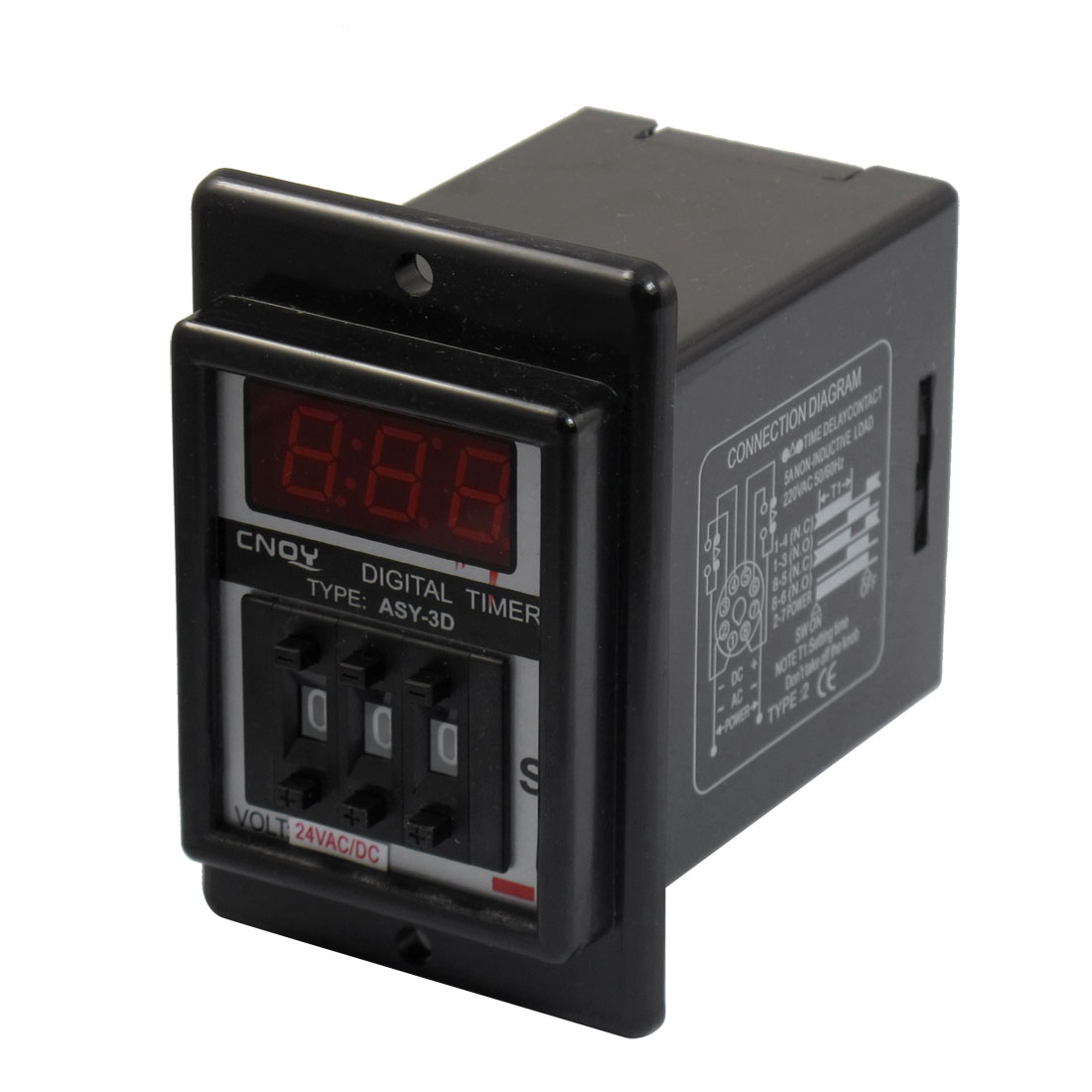 Panel Mount 1-999 Second Black Digital Timer Time Delay Relay AC/DC 24V ASY-3D