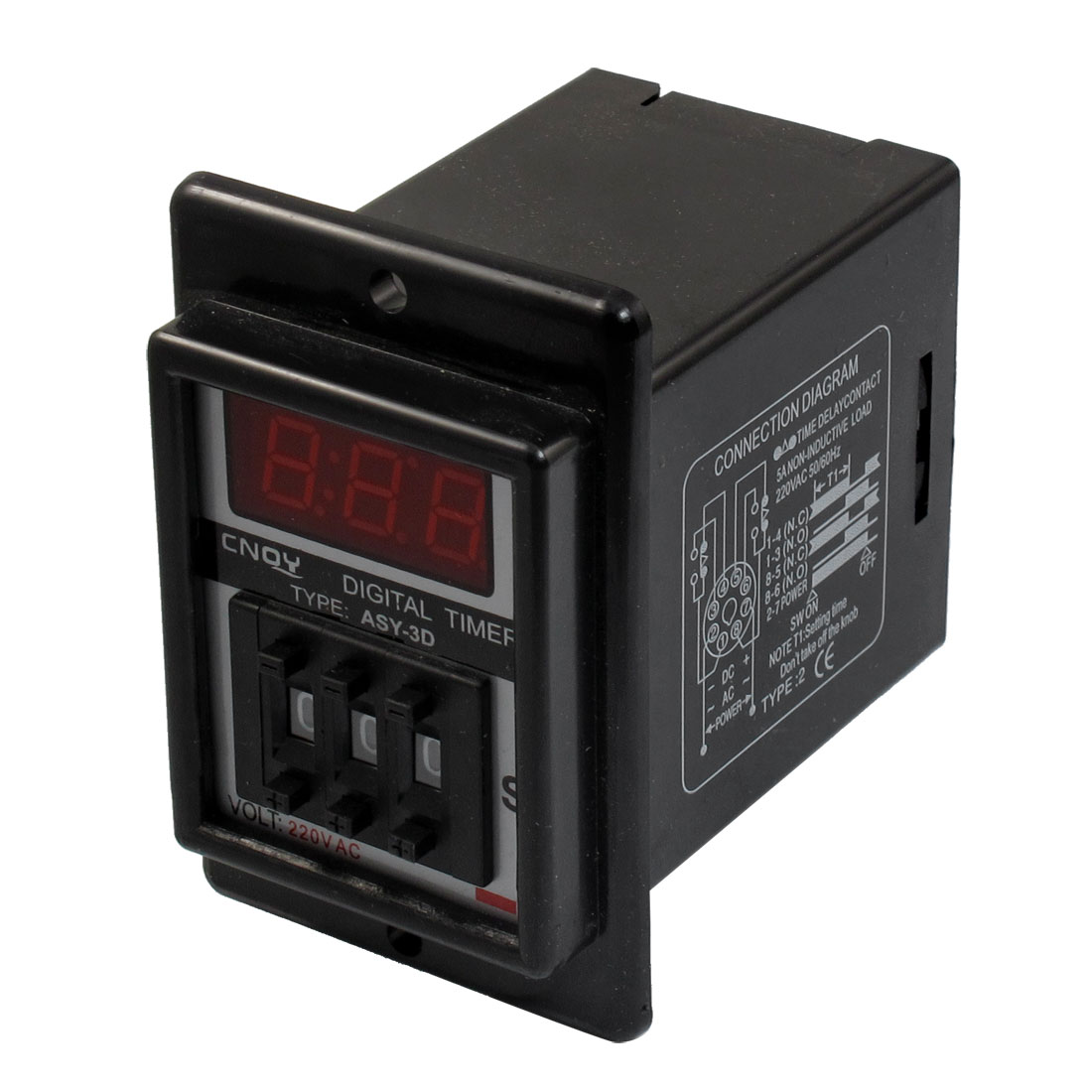 Black AC 220V Power on Delay Timer Time Relay 1-999 Second 8 Pins ASY-3D
