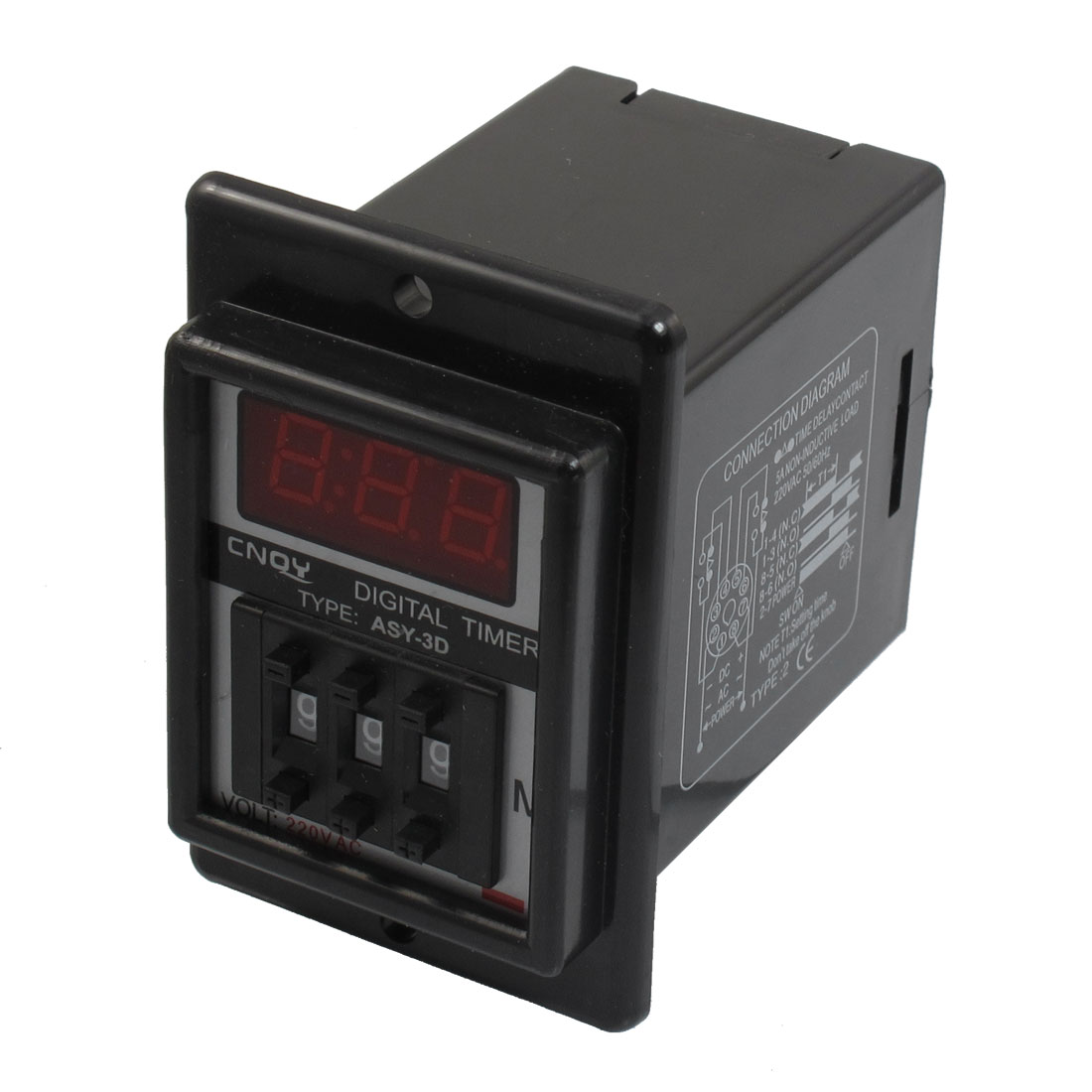 Panel Mount 1-999 Minute Black Digital Timer Time Delay Relay AC 220V ASY-3D