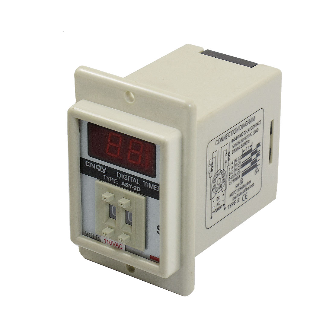 White AC 110V Power on Delay Timer Time Relay 1-99 Second 8 Pins ASY-2D