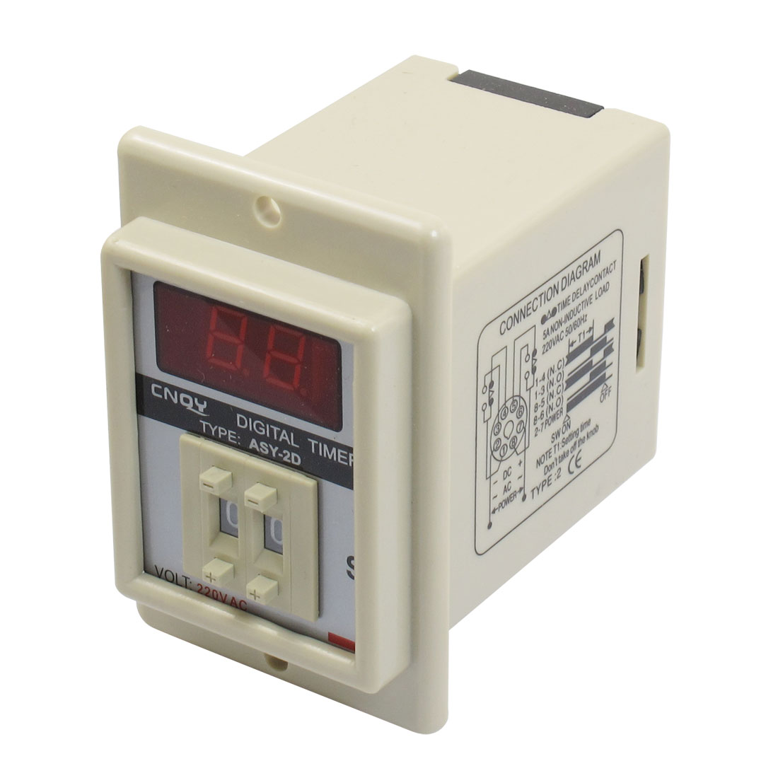 Panel Mount 0.1S-9.9S White Digital Timer Time Delay Relay AC 220V ASY-2D