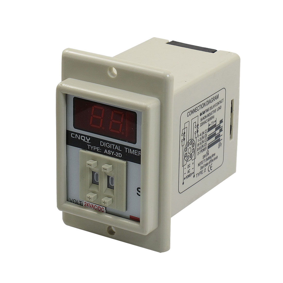 Panel Mount 0.1S-9.9S White Digital Timer Time Delay Relay AC/DC 24V ASY-2D