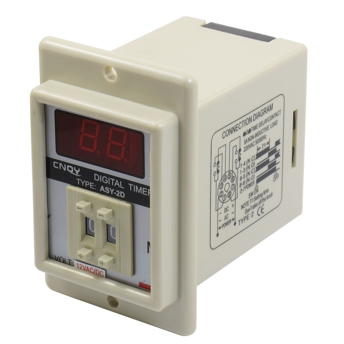 White AC/DC 12V Power on Delay Timer Time Relay 0.1-9.9 Minute 8 Pins ASY-2D