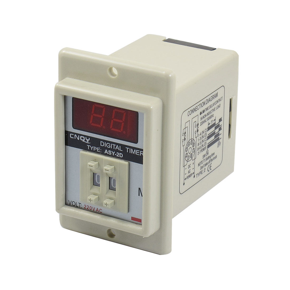 AC 220V 8 Pin 0.1-9.9 Minute Digital Timer Time Delay Relay Beige ASY-3D