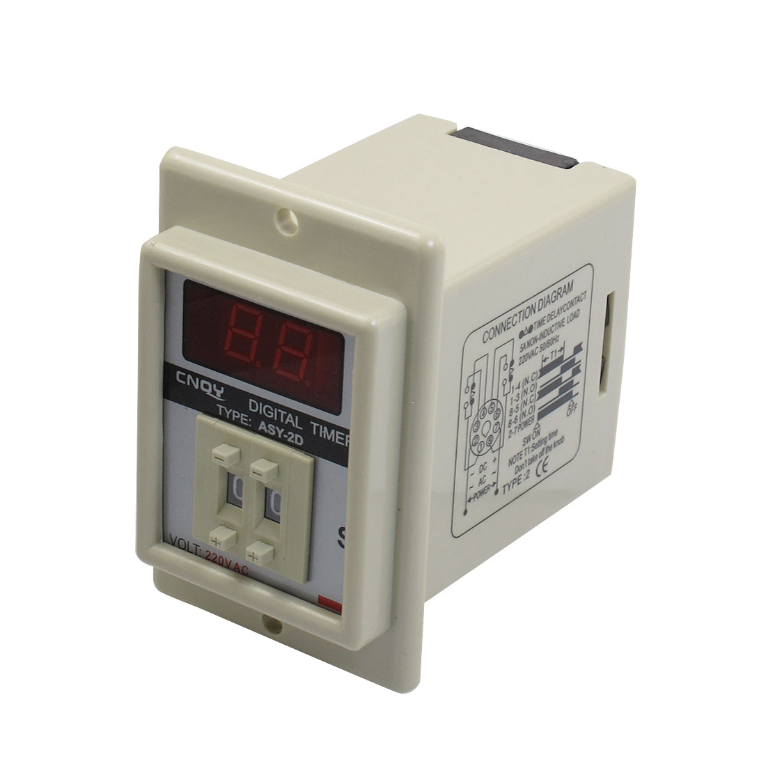 White AC 220V Power on Delay Timer Time Relay 1-99 Second 8 Pins ASY-2D