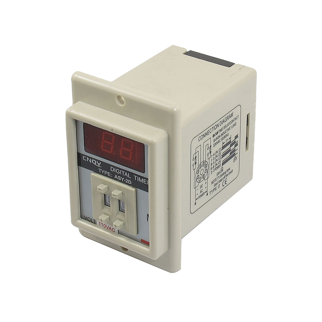 AC 110V 8 Pin 1-99 Minutes Digital Timer Time Delay Relay Beige ASY-2D