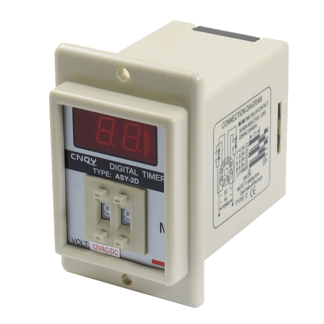 AC/DC 12V 8 Pin 1-99 Minute Digital Timer Time Delay Relay Beige ASY-3D