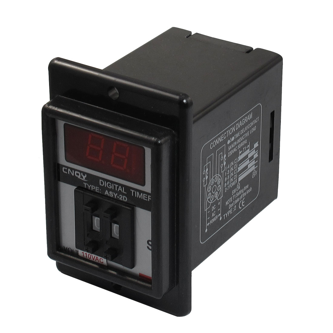 Black AC 110V Power on Delay Timer Time Relay 0.1-9.9 Second 8 Pins ASY-2D