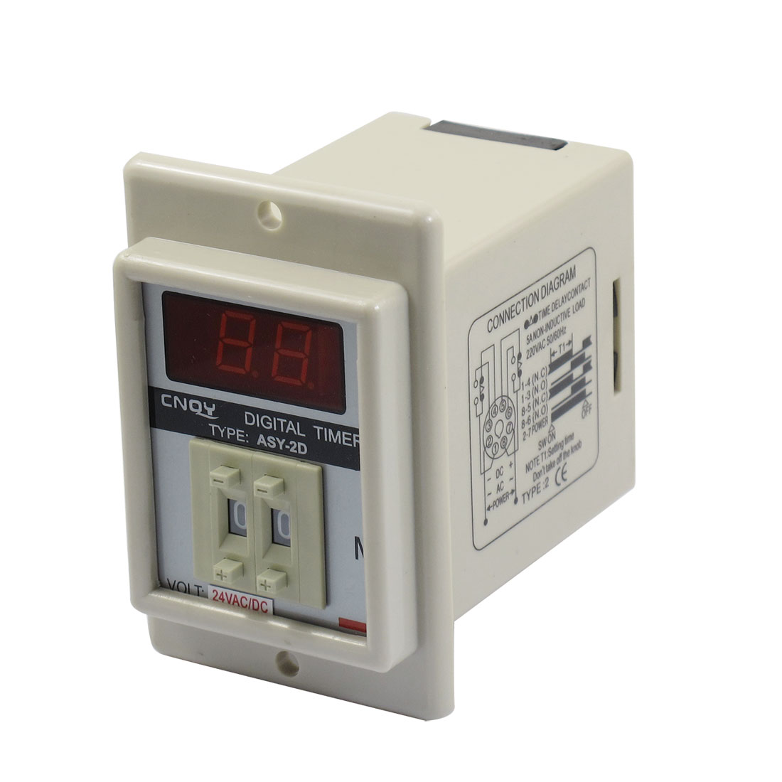 ASY-2D AC/DC 24V 99 Minute Digital Timer Programmable Time Delay Relay White