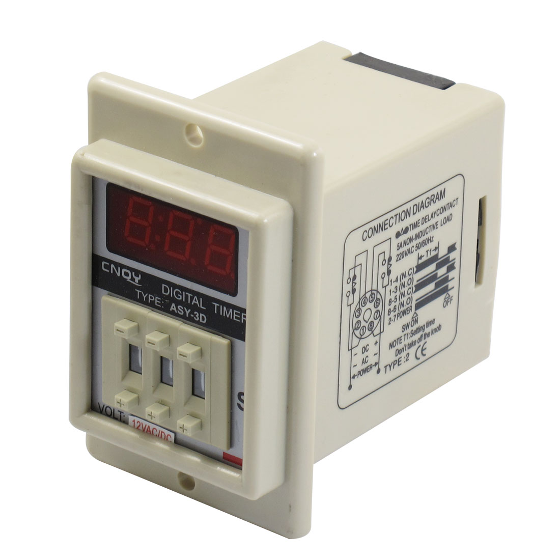 AC/DC 12V 8 Pin 0.01-9.99 Second Digital Timer Time Delay Relay Beige ASY-3D