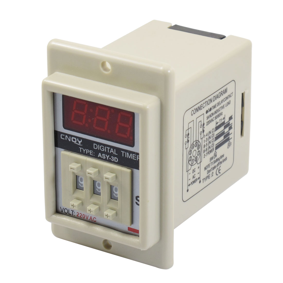 AC 220V 8 Pin 0.1-9.99 Second Digital Timer Time Delay Relay Beige ASY-3D